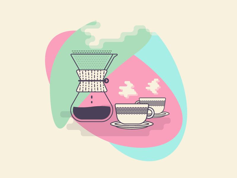 Chemex + Colors layers line vector shadow organic shapes icon illustration coffee chemex