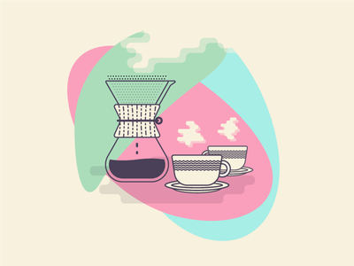 Chemex + Colors layers line vector shadow organic shapes icon illustration coffee chemex