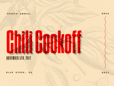 Fourth Annual Chili Cookoff tungsten condensed food winter illustration type cookoff chili branding annual