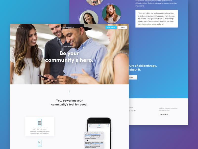 Purposity - Sponsor Page application mockup ui web site design gradient sponsor purposity