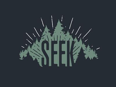 Seek vector design evergreens silhouette faith outdoors trees tshirt art illustrator