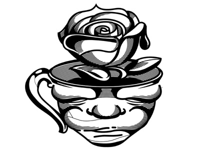 Bloom abstract art joy within depression rose line art black and white loyal design personal project illustrator