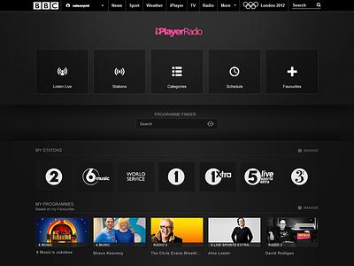 BBC iPlayerRadio concept creative direction design ui ux