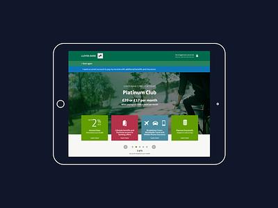 Lloyds Banking Account Opening ux ui responsive reactjs offers mobile desktop design banking