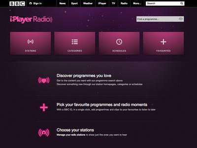 BBC iPlayer Radio radio landing networks favourites stations bbc iplayer iplayerradio ui homepage