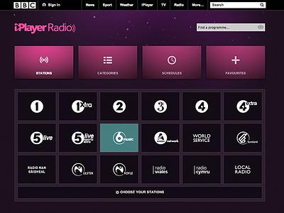 BBC iPlayer Radio Stations networks stations bbc iplayer iplayerradio ui