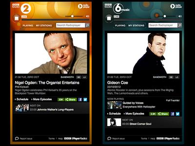 Radio Player BBC Radio Networks 6music ui radio player radioplayer bbc radio2 branding networks