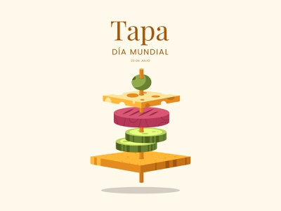 Dia Mundial de la Tapa Freepik colorful vector illustration spain food tapa