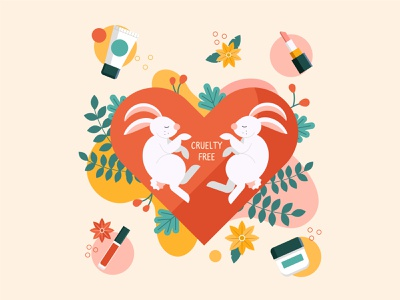 Cruelty free and vegan colorful vector illustration cruelty free vegan bunny