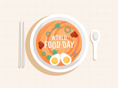 World Food Day bowl food colorful vector illustration