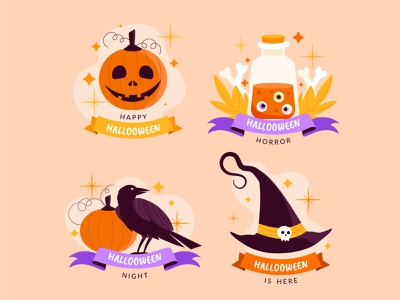 Halloween label collection label halloween colorful vector illustration