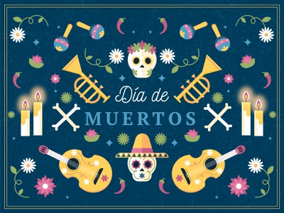 Día de muertos day of the death mexico skull dia de muertos colorful illustration vector