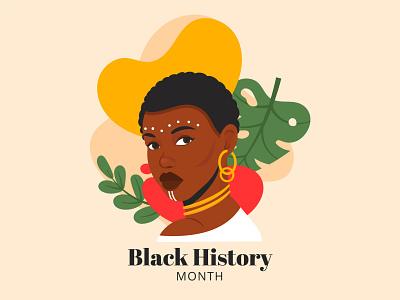 Black history month ethnic gir people colorful illustration vector women black
