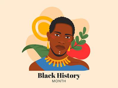 Black History Month history ethnic colorful people illustration vector black men
