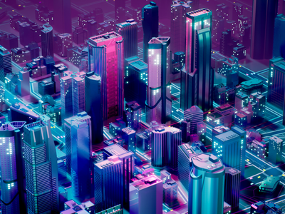 Neon City buildings megapolis colourfull cyberpunk future neon city unreal engine c4d design render illustration cinema4d 3d