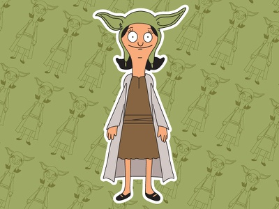 Louise Belcher X Yoda vector illustration cartoons stickers mashups mashup smash bobs burgers jedi yoda louise belcher star wars
