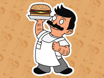 Bob Belcher X Bob's Big Boy burger bob belcher big boy tina belcher bobs burgers smash mashup mashups stickers cartoons illustration vector