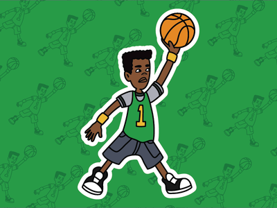 Vince LaSalle X Jordan mashup stickers cartoon illustration vector basketball recess jordan vince lasalle tv
