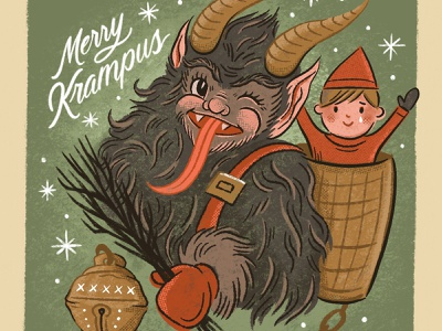 Merry Krampus santa xmas holiday cute creepy spooky procreate retro vintage christmas krampus illustration hand drawn