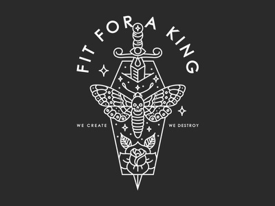 Fit For a King tattoo band apparel merch moth dagger rose monoline minimal line illustration hand drawn