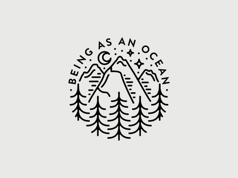 Being As An Ocean forest mountains monoline minimal merch line illustration band apparel hand drawn emblem badge