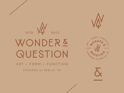 Wonder & Question badge symbol stamp monogram ampersand mountain tree typography logo identity hand drawn branding