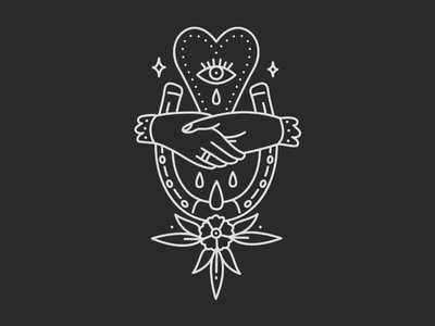 Good Luck Heartbreak tattoo monoline minimal merch line illustration handshake hand drawn horseshoe band apparel