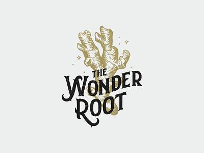 Wonder Root illustration whiskey ginger engraving vintage logo lettering hand drawn branding