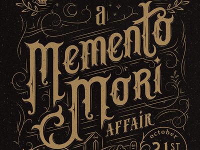 Memento Mori vintage blackletter gothic victorian halloween hand drawn lettering