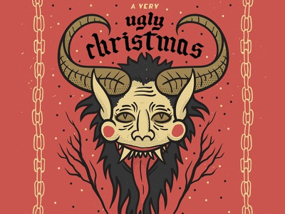 A Very Ugly Christmas devil krampus ugly party lettering illustration holiday hand drawn christmas