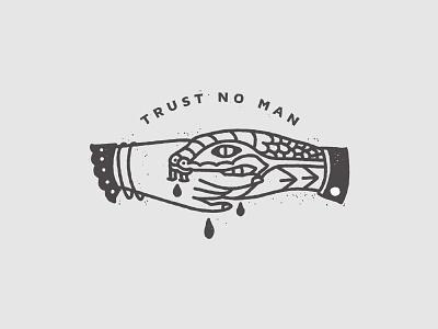 Trust No Man  feminism tattoo minimal monoline line illustration snake handshake hand drawn