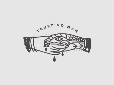 Trust No Man  feminism tattoo minimal monoline line illustration snake handshake hand drawn