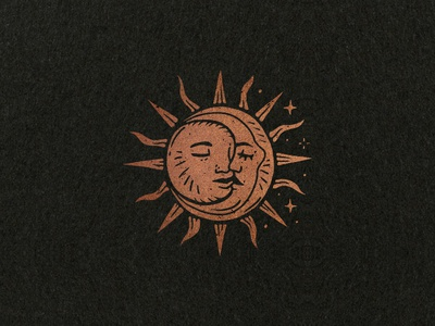 Solar Eclkiss icon hand drawn mystic stars eclipse solar moon sun minimal illustration