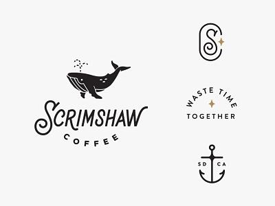 Scrimshaw Coffee nautical anchor illustration lettering hand drawn logo whale monogram icon branding
