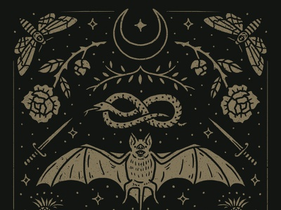 Cemetery Nights hand drawn illustration dagger moth rose snake bat witchy spooky fall autumn halloween