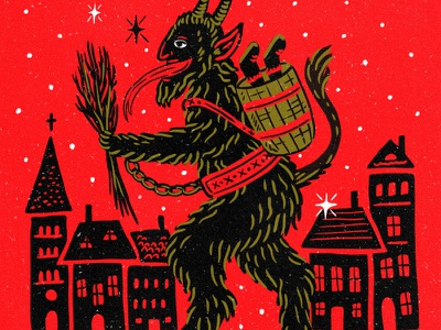 Krampus retro ugly party vintage holiday hand drawn devil krampus illustration christmas