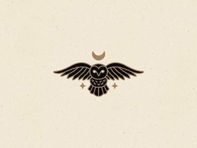 Owl mystic monoline stars bird hand drawn illustration icon moon owl