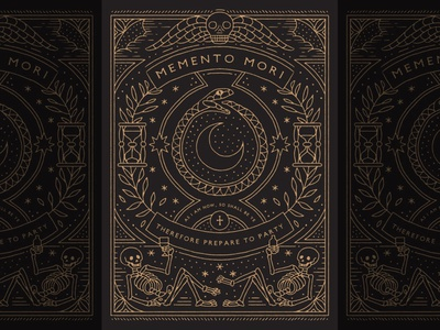 Memento Mori orobouros tarot stars moon halloween horror witchy occult death cemetery dark skull monoline illustration hand drawn