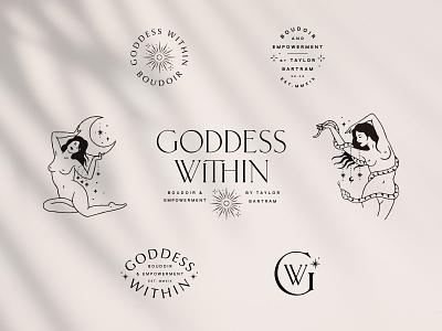 Goddess Within Boudoir snake women empowerment feminine nude star sun moon witchy goddess boudoir badge secondary submark identity logo branding illustration hand drawn