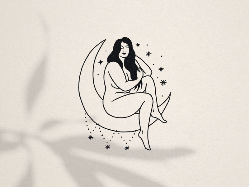 Goddess Within Boudoir empowerment witchy celestial feminine moon stars sexuality women woman curvy goddess boudoir illustration hand drawn