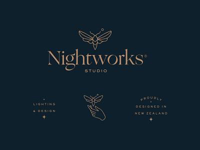 Nightworks Studio monoline illustration dark moon night star design lighting hand moth badge tagline secondary submarks logo branding