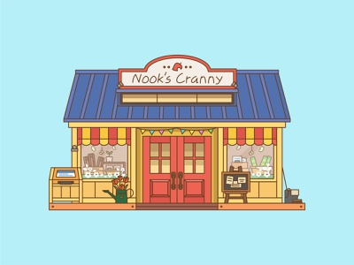 Nook's Cranny new horizons animal crossing flat vector illustration design