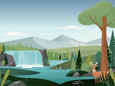 Venison Landscape scenery scene landscape illustration tree forest waterfall landscape texture vector illustration design