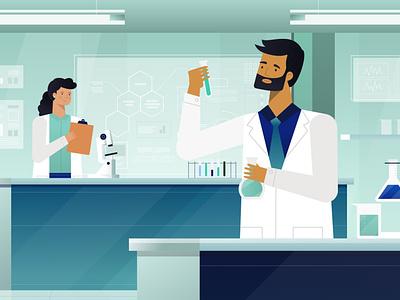 Lab research frame video vector illustration design science laboratory lab