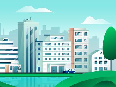 City video marketing frame flat vector illustration design cityscape city