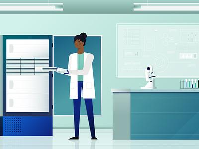 Lab 2 frame video vector flat illustration design freezer science lab laboratory