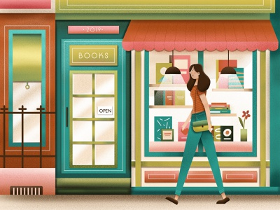 Bookstore bookstore book illustration design