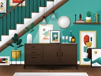 Living Room decor interior design livingroom flat illustration design
