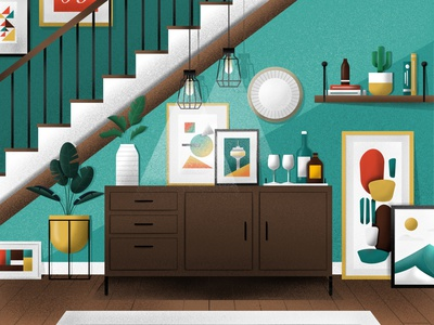 Living Room decor interior design livingroom flat illustration design