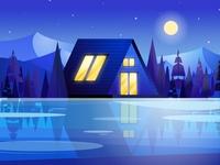 Cozy Cottage night moon lake cottage noise grainy grain vector design illustration